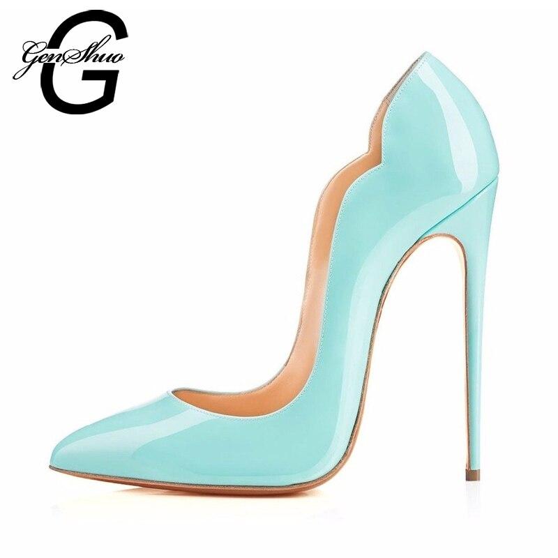 GENSHUO Sky Blue Women Pumps 12CM Spring 2017 High Heels Shoes Women Shallow Mouth Fashion Women Shoes Wedding Party Shoes<br>