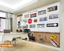 Custom 3d vintage wallpaper mural number licence plate traffic lights road sign tv sofa bedroom living room bar cafe background