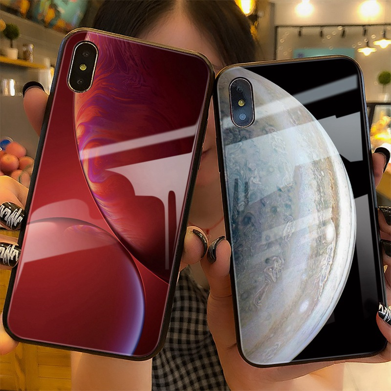 TOMKAS Luxury Space Cover Case for iPhone X Xs Max Xr Xs Glass Silicone Phone Case for iPhone 7 8 Plus Cases for iPhone 6 S 6s (18)