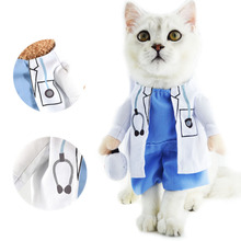 Cat Pet Costume Doctor Uniform Suit Dog Clothes Outfit Doctor Apparel Clothing, Cartoon Funny Pet Cat Clothes,Business Attire(China)