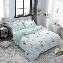 Hot Design Bedding Set Plant cactus happy time Duvet Cover Flat Sheet Pillowcase Quilt Cover Bed Set Full Queen King bedclothes(China)
