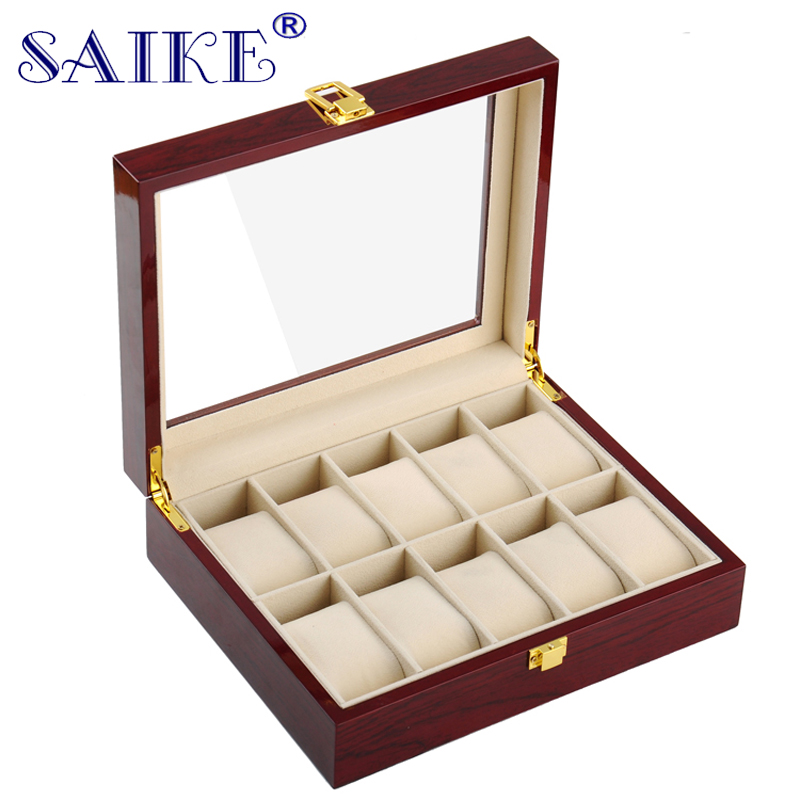 SAIKE Lacquer Wood Watch Boxes 10 Slots Storage Boxes MDF Wristwatch Packaging Box for Expensive Watch Display Collection Red(China (Mainland))