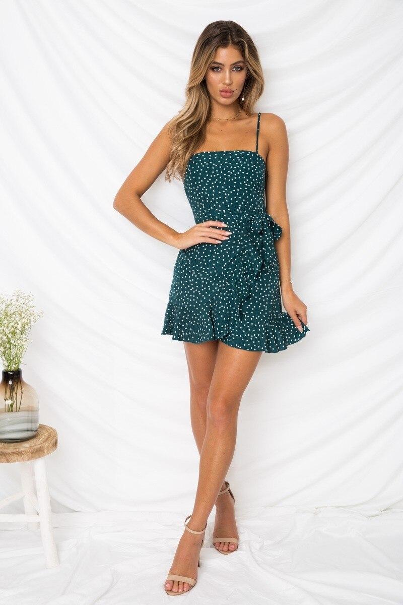 LOSSKY Women Print Beach Strap Ruffles Bodycon Dress Sleeveless Sexy Package Hip Mini Sling Dress Boho Dresses Summer 2018 New 18