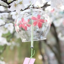 Romantic Summer Style Wedding Decoration Sakura  Glass Bells Wind Chime Blessing Paper Party Decoration Bells Car Hanging Decor