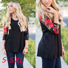 Buy PlusMiss Plus Size 5XL Floral Print High Low Hem Blouse Shirt Women Clothing Long Sleeve Casual Summer Chiffon Loose Tops Blusas for $6.83 in AliExpress store