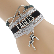 Infinity Love Philadelphia State Eagles football Team Bracelet black Customized Wristband friendship Braceletship(China)