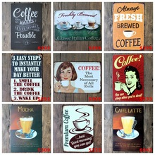 Home Decoration Retro Metal Plates For Coffee Bar Cafe Pub Shop Restaurant Hot Coffee Signs 20*30cm(China)