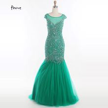 Finove Elegant Beading Long Mermaid Prom Dresses 2017 Formal Tulle Sexy Cheap Evening Gowns Party Dress robe de soiree(China)