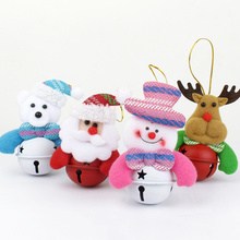 1Set 4pcs Christmas Bell Santa Claus Dolls Hanging Drop Christmas Tree Ornaments Christmas Gift For Children Navidad Gifts(China)