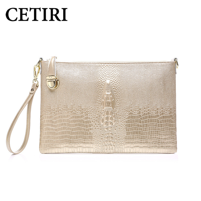 CETIRI Clutch Women Evening Clutch Bag Genuine Leather Bag Wedding Day Clutches Purse Gold Ladies Party Alligator Wallet Handbag<br>