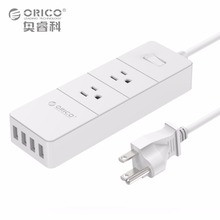 ORICO 2 Outlets Power Strip Surge Protector Max 1250W with 4 USB Ports 20W Built in 5 Feet Power Cord(China)