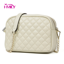 HMILY Genuine Leather Women shoulder bag cowhide Ling Plaid small messenger Bag Chain Trendy Shopping Daily small bag