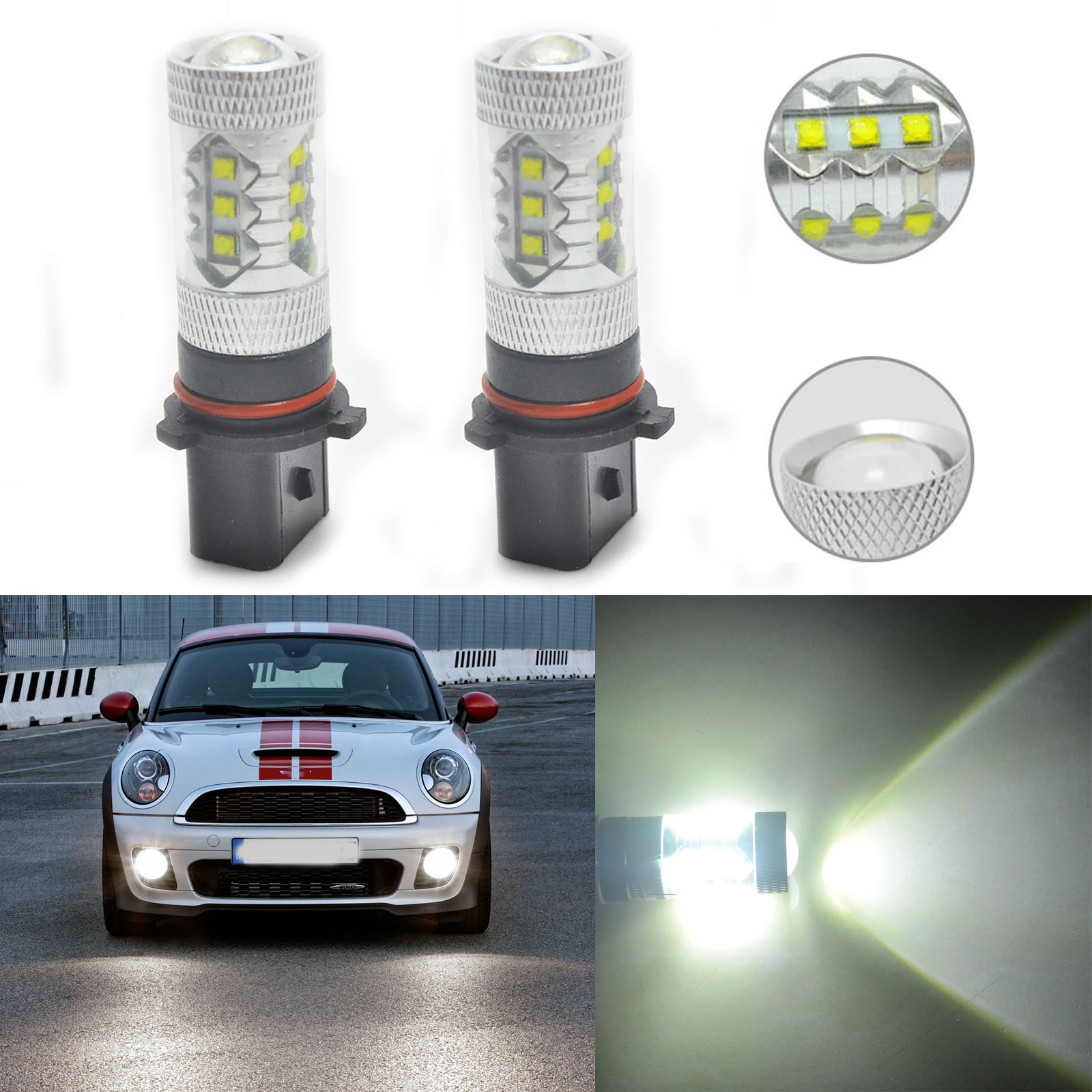 2pcs Car Xenon White 80W P13W LED Bulbs For Audi A4 Q5 Daytime Running Lights DRL<br><br>Aliexpress