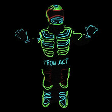 Led Growing Flashing Tron Robot Suit / EL Wire Costume Dance Clothing Wear For Stage Show DJ Accept Customized Design(China)