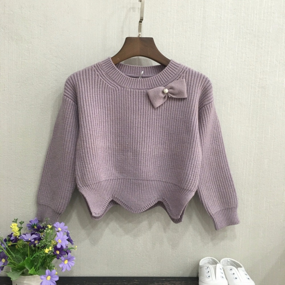 Winter Autumn Girl SWeater Kids Pullovers Knitted Sweater Jumpers Top Cotton Knit Outwear Fashion Children Lovely Bow Clothes  <br>