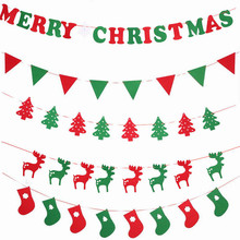 2017 DIY Non-woven Fabric Xmas Flags Santa Clause Floral Bunting Banners Merry Christmas Decoration Home Shop Market Room Decor