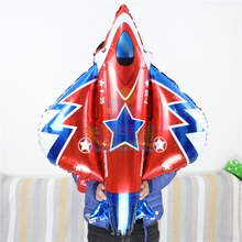 10pcs/lot big battle plane balloon91*87cm airliner helicopter inflatable ballon aluminum foil globo kids love toys PL013(China)
