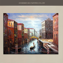 Hand Painted Landscape Home Decor Oil Painting On Canvas View Art Venice City of Water Picture European Mediterranean