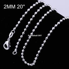 "Brass Ball Chain Necklace Making, with Lobster Claw Clasps, Silver, 20""; 2mm"