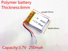3.7V 250mAh 602025 Lithium Polymer Li-Po li ion Rechargeable Battery cells For Mp3 MP4 MP5 GPS PSP mobile bluetooth