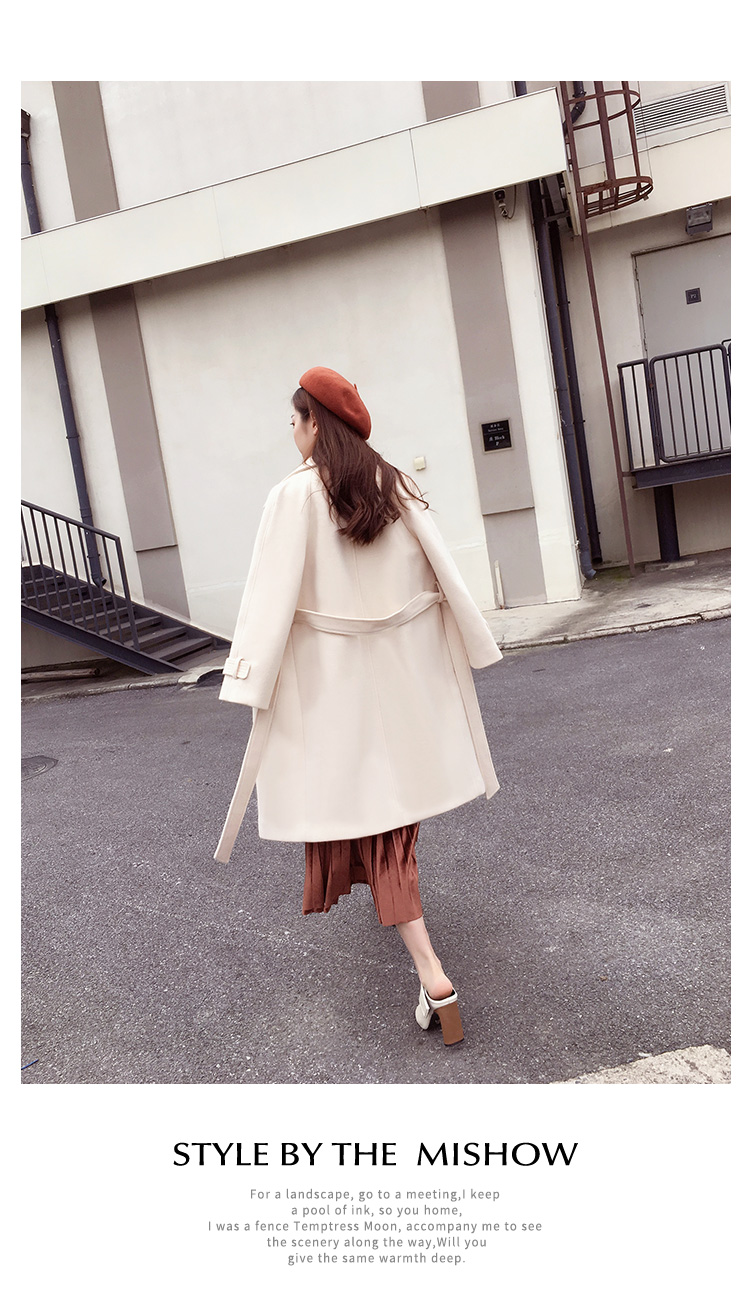 Mishow 19 autumn and winter woolen coat female Mid-Long New Korean temperament women's popular woolen coat MX17D9636 22