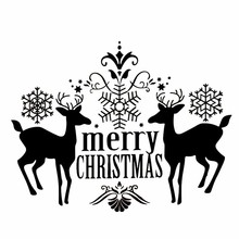 Merry Christmas Deer Wall Stickers PVC Wall Decals Removable Wall Window Stickers Festive Xmas Party Home Wall Decoration(China)