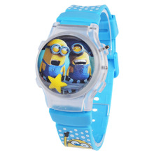 Hot Kids Cute Clock 2016 Despicable Me Minions style cartoon digital watch for children Christmas present silicone strap watches