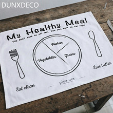 DUNXDECO Table Placemat Cotton Tablecloth Bow Plate Mat Dinner Breakfast Decorative Fabric Simple Healthy Words Letter Print