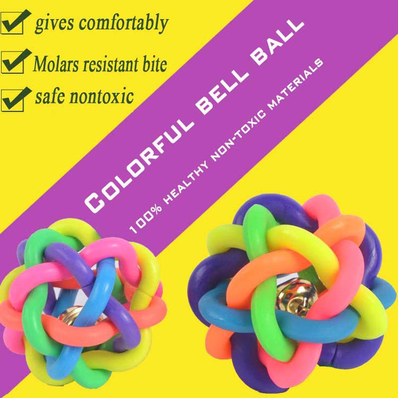 Hot Rubber Pet Balls Sounding Colorful Bell Rings Training puppy Dogs Toys Molars Biting 6cm(China (Mainland))