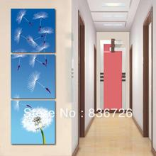 3 piece canvas wall art  Blue canvas painting Dandelion Modern art wall  Porch decoration Fashion home decoration