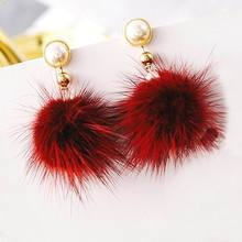 Simulated Pearl Fur Ball Long Earrings For Women Bijoux Simple Winter Fashion Jewelry Red Black White Green Colors