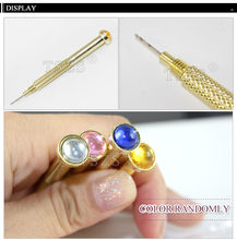 2pcs/Lot Golden Handle stainless steel useful hand nail art machine nail Piercing Drill Nail drill