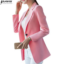 New Fashion Small Shrug jacket Korean version long paragraph wild pink casual women blazer long sleeve office outwear(China)