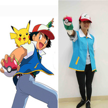 Pokemon Go Pocket Cosplay Monster Ash Ketchum Trainer Costume Shirt Jacket Gloves Hat Ball Japan Anime Halloween Party Wear
