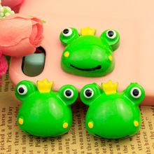 50pcs/Lot 23x25mm Cute Frog Prince Resin Cabochon Flatbacks DIY Flat Back for Hair Bow Center Boys Embellishment Decoration