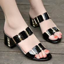 Hot sale sexy genuine leather woman sandals fashion thick heel lady slippers high-heeled female shoes(China)