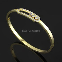 New cute 18K yellow/rose/platinum gold plated pulseira feminina Move Stone CZ diamond bangle bracelets party jewelry for women