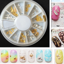 Star Leaves conch shell Metal Nail Stud Nail Art Decoration Tips Gold Nail Sticker DIY 3D Nail Art Wheel