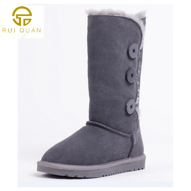 warm Winter Shoes Womans Genuine Leather Boots 3 three Button tall  Snow Boots Womens Shoes  Australia fashion Flats <br>