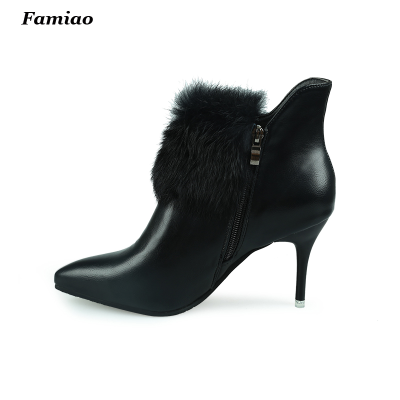 2017 women pointed toe high heel ankle boots winter warm boot brand sexy botas footwear heels shoes<br><br>Aliexpress