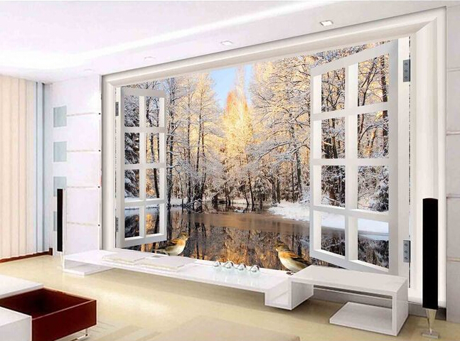 Custom 3 d stereoscopic wallpaper, Europe type window murals for the sitting room the bedroom TV wall vinyl papel DE parede<br>