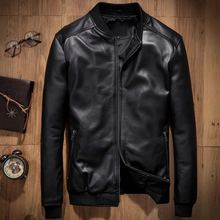 First layer of sheepskin male jacket short design stand collar leather jacket casual natural genuine leather jacket free UPS