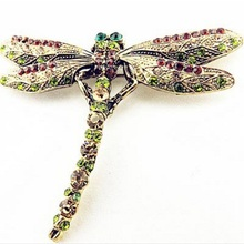 2017 New Fashion Summer Jewelry Accessories Brooch For Girl Vintage Lovely Dragonfly Crystal Scarf Lapel Pin Brooches For Women