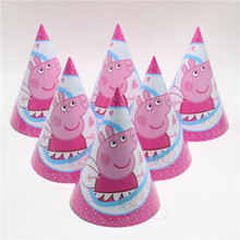 10pcs Pink Pig Theme Party Paper Caps Hats for kids Children Birthday party Decoration(China)