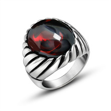Metrosexual retro ring ring titanium jewelry will never fade Black Onyx Ring SA718
