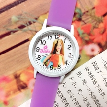 Super Deal 50PCS/LOT Wholesale Barbee Children Cartoon Wristwatches Girls Glow In The Dark Silicone Kid Jelly Quartz Watch New