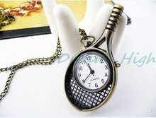 New Arrival tennis racket Pendant Sweater Chain quartz Watch Antique Bronze Chain Jewelcy Pocket Watch 12pcs/lot Free Shipping(China)