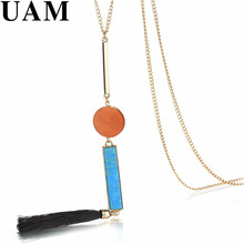 UAM Ethnic Handmade Black Tassel Necklace Pendant Online Shopping India Fashion Women Long Chain Stone Wood Gold Color Necklace(China)
