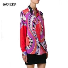 New 2016 spring High Quality Luxury Brands Designer Blouses Women's Long Sleeve Red Geometry Printed XXL Casual Shirts(China)
