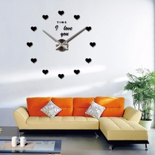 2017 DIY Mute Movement Wall Clock Acrylic Mirror Wall Paste Heart Style Valentine's Day Gift I LOVE YOU Vindicate Wall Clock(China)